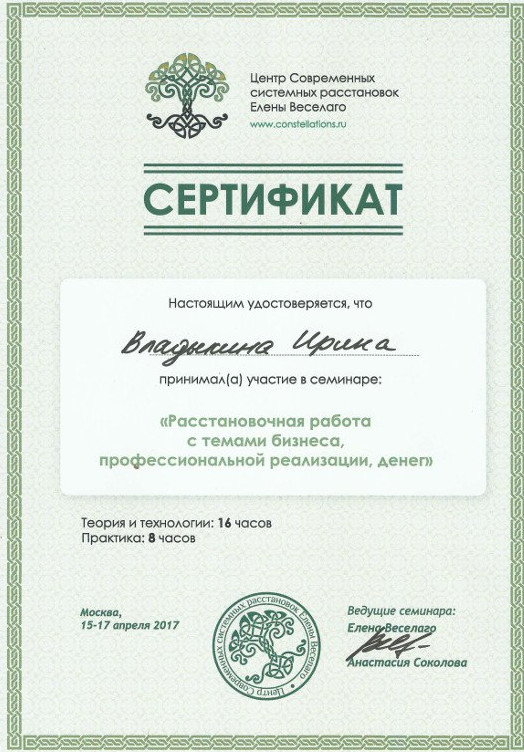 Диплом об участии в семинаре Елены Веселаго