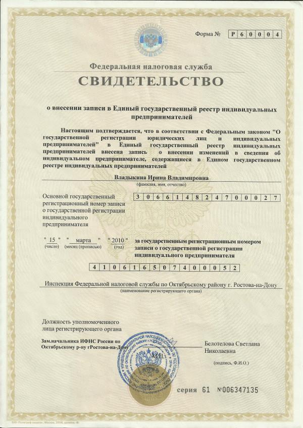 Свидетельство о регистрации ИП Владыкина Ирина Владимировна